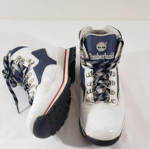 TIMBERLAND BOOTS LEATHER UPPERS WHITE/BLUE GUC